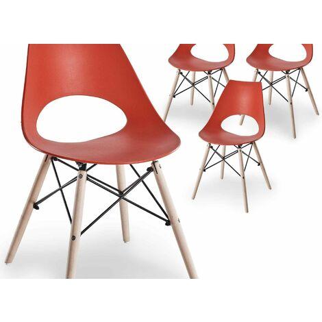 Lot de 4 chaises scandinaves rouges NORA