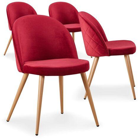 Lot de 4 chaises scandinaves Tartan velours Rouge - Rouge