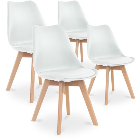 Lot de 4 chaises style scandinave Catherina Blanc