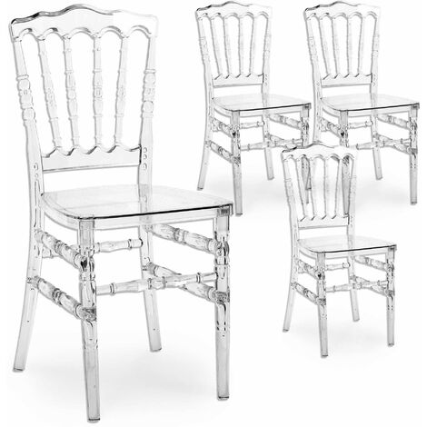 Lot de 4 chaises transparent en plexi NAPOLEON