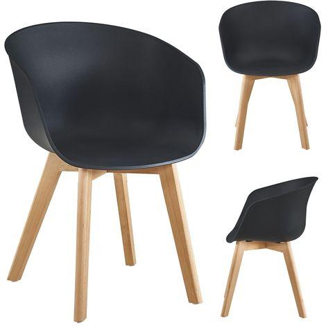 Lot de 4 chaises Zeva design scandinave noir - Noir