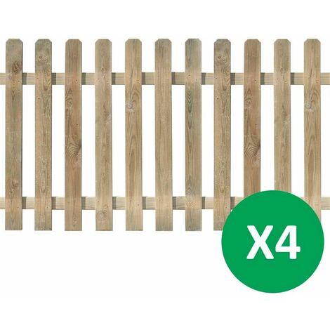 Lot de 4 clôtures montées en Pin Traité Autoclave Vert - 180x100cm - MUSTANG