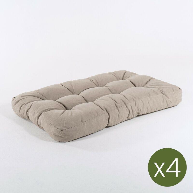 Edenjardin - Lot de 4 coussins d'appui pour palette en fibre d'Oléfine | Dimensions: 80x120x16 cm | Couleur marron grillé | Il ne perd pas de couleur