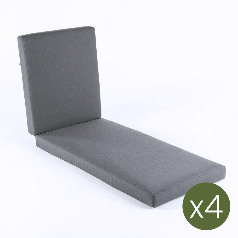 Lot de 4 coussin pour chaise longue d'extérieur standard Olefin Gris Dimensions 190 x 60 x 10 cm Ne perd pas de couleur Déhoussable - Olefin gris