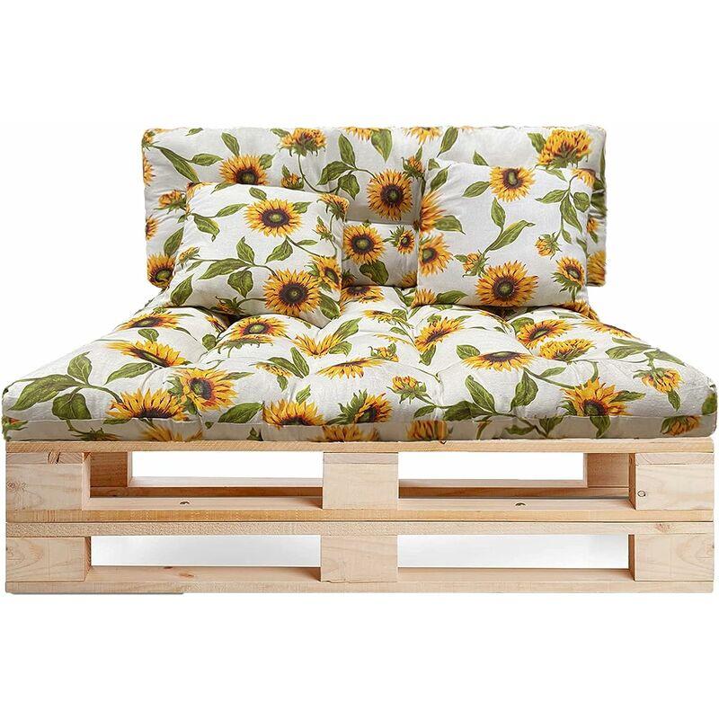 Lot de 4 coussins pour canapé Palette intérieur/extérieur - Assise 120 x 80 x 10 cm + Dossier 120 x 50 x 10 cm + 2 coussins carrés - Coussin de