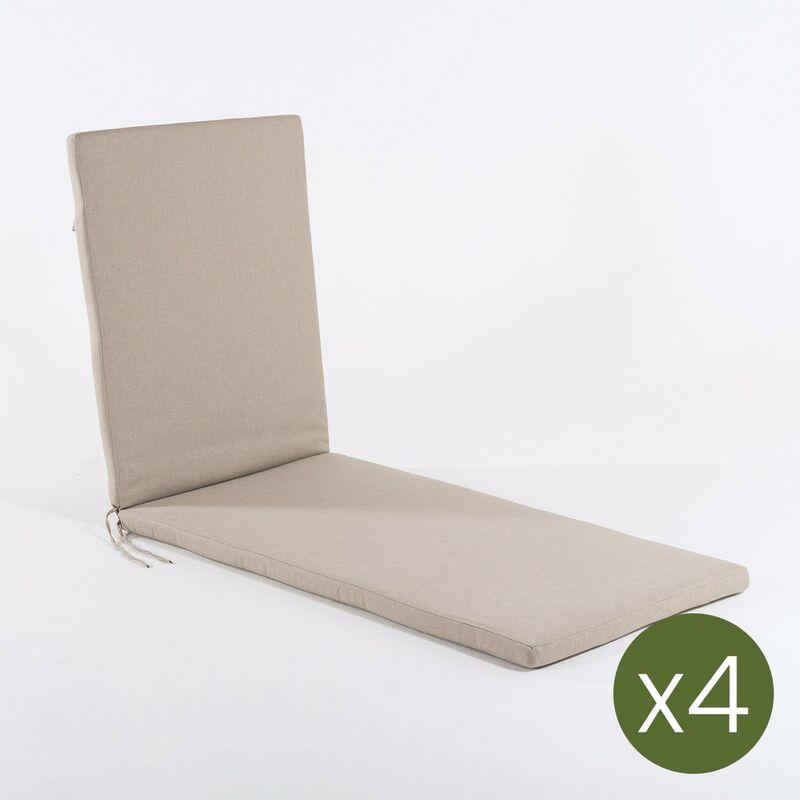 Edenjardin - Lot de 4 coussins pour chaise longue Oléfine couleur marron grillé | Dimensions: 60x196x5 cm | Il ne perd pas de couleur | Résistant aux