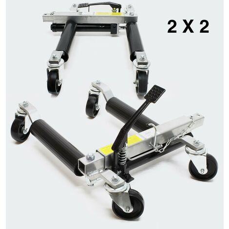 Lot de 4 : Déplace voiture, jack ou crics hydraulique pour déplacer facilement une auto