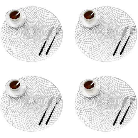 Lot de 4 Dessous Assiette, Napperons Rond Set de Table Tapis de Table pour Table Salle à Manger Cuisine (Style I, 38cm)