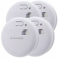 Lot de 4 détecteurs de fumée Otio NF & EN14604- Garantie 5 et livré avec pile et accessoires