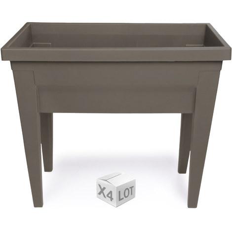 Lot de 4 espaces potager VEG&Table City Taupe- 76 x 38,5 x 68 cm - 57L