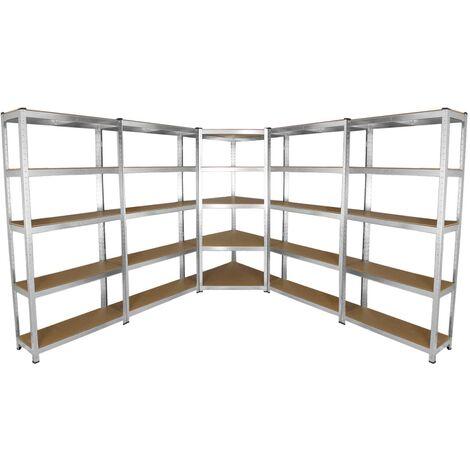 Lot de 4 Etagères de Rangement de 90cm & 1 Etagère d'Angle Galwix, Ensemble de Rayonnages de Garage Fini Acier Galvanisé - Argent