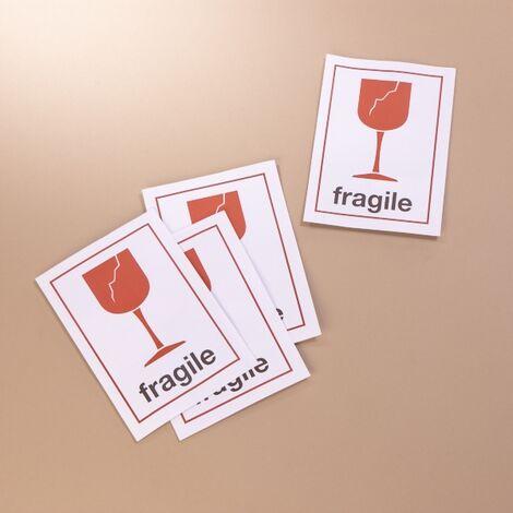 Lot de 4 étiquettes autocollantes fragile