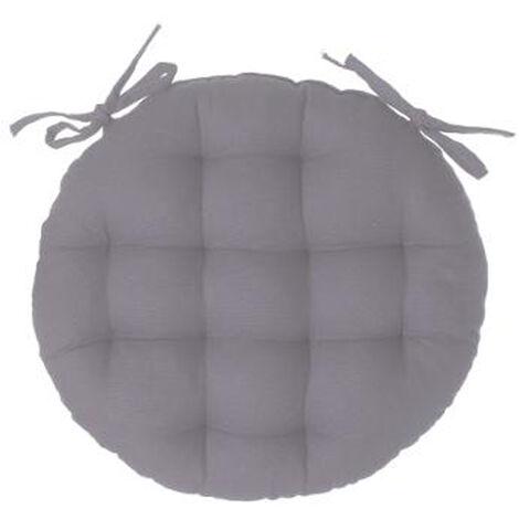 Lot de 4 galettes de chaise ronde en coton coloris gris - Diamètre 40 cm