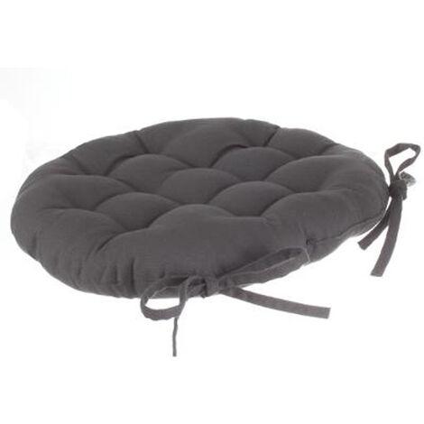 Lot de 4 galettes de chaise ronde en coton coloris gris foncé - Diamètre 40 cm