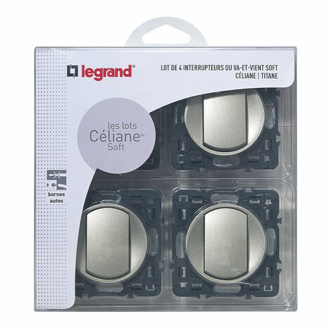 Lot de 4 interrupteurs ou va-et-vient Céliane Soft Titane (200263)