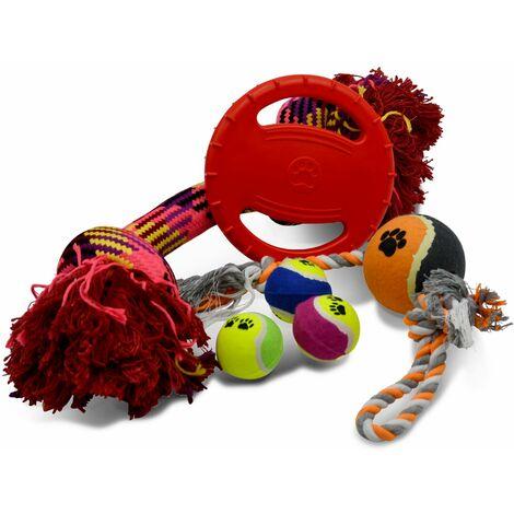 Lot de 4 jeux pour chien : corde avec nœuds, corde avec poignée, frisbee flottant et 3 balles de tennis