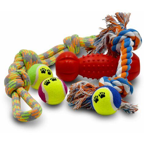 Lot de 4 jeux pour chien : corde avec nœuds, corde avec poignée, os flottant rouge et 3 balles de tennis