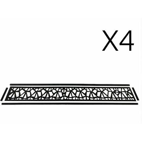 Lot de 4 lames décoratives PRISM gris aluminium pour cloture bois composite