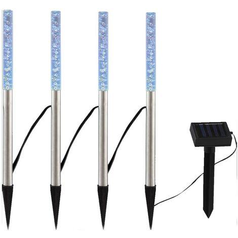 Lot de 4 lampes solaires à LED pour usage extérieur avec changeur de couleurs