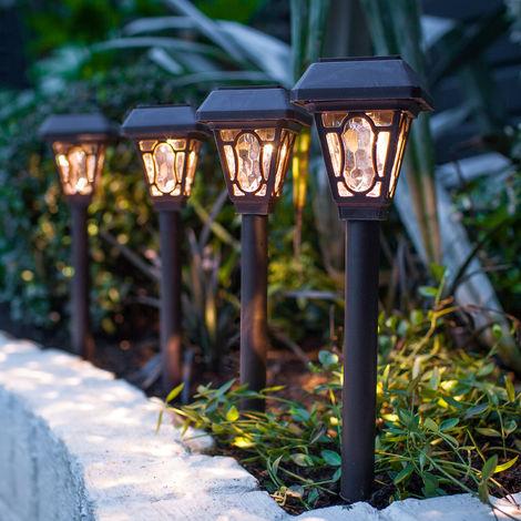 Lot de 4 Lampes Solaires à Piquet avec LED Blanc Chaud Lights4fun