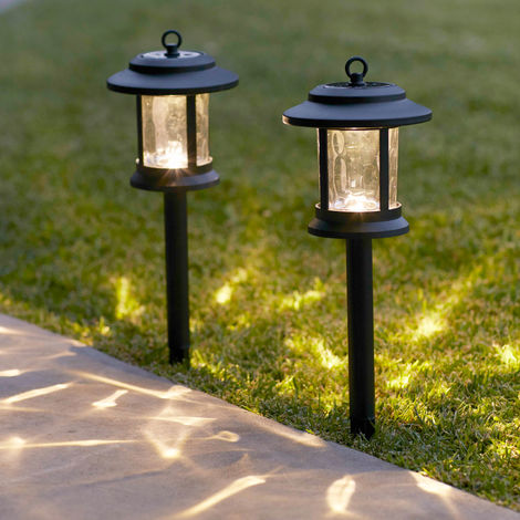 Lot de 4 Lanternes Solaires en Verre avec LED Blanc Chaud sur Pique pour Jardin Lights4fun