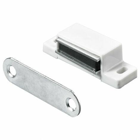 Lot de 4 loqueteaux magnétiques plastique HETTICH, L.14.5 x l.45.3 mm