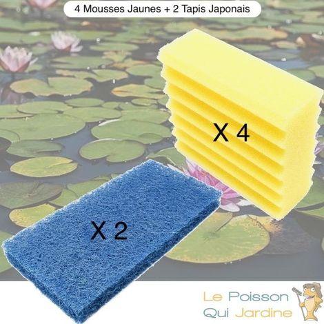 Lot De 4 Mousses De Filtration Jaunes + 2 Tapis Japonais, De Remplacement Pour Bassins