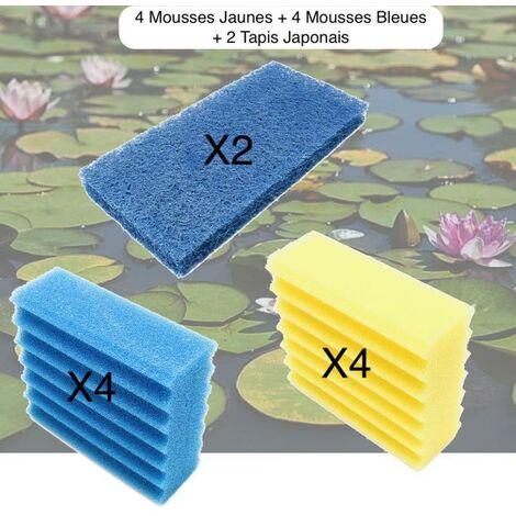 Lot De 4 Mousses De Filtration Jaunes + 4 Bleues + 2 Tapis Japonais, De Remplacement Pour Bassins