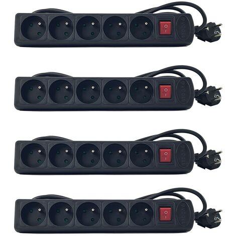 Lot de 4 multiprises polyvalente 5 Prises - câble 3.0 m - avec interrupteur