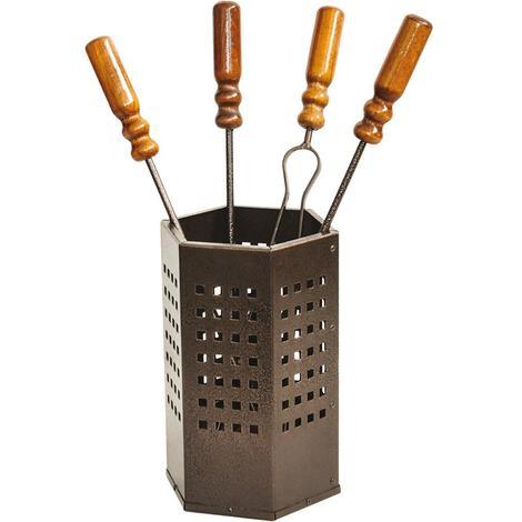 Lot de 4 outils manches en bois support accessoires cheminée Cubo 18 x H50 cm