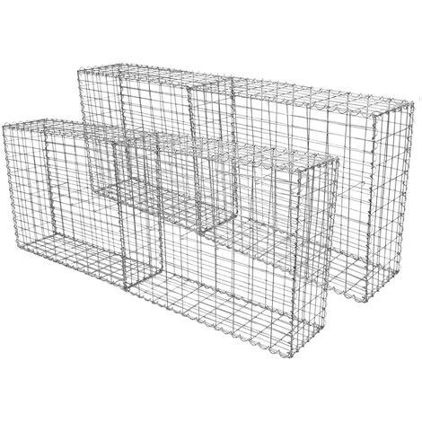 Lot de 4 Paniers de Gabions Argentés en Acier Galvanisé pour Projets d'Aménagement Extérieur, Murs de Soutènement, Clôture de Jardin. 100 x 80 x 30cm - Argent