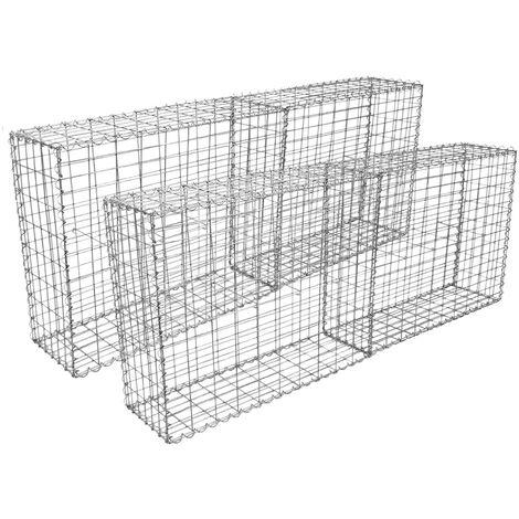 Lot de 4 Paniers de Gabions Argentés en Acier Galvanisé pour Projets d'Aménagement Extérieur, Murs de Soutènement, Clôture de Jardin. 100 x 95 x 30cm - Argent