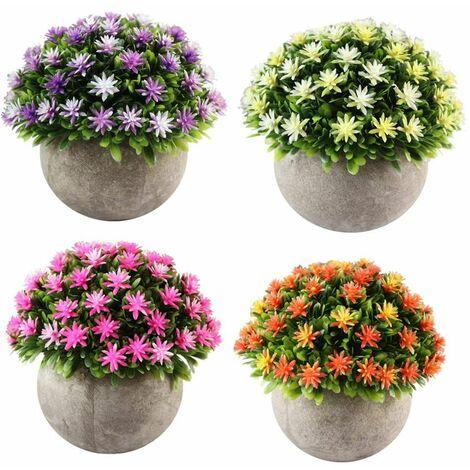 Lot De 4 Petites Plantes Artificielle Des Fleurs Avec Pot