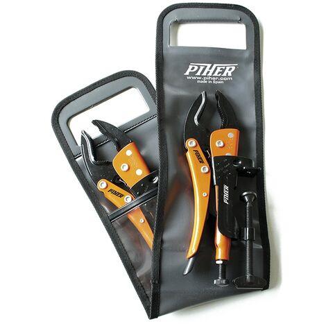 Lot de 4 pièces HK-SET4 de 2 pinces Grip étau PREMIUM + 2 supports Grip à visser - 53210 - Piher