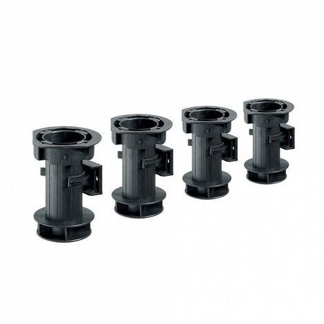 Lot de 4 Pieds de caisson réglables - noir - H100mm