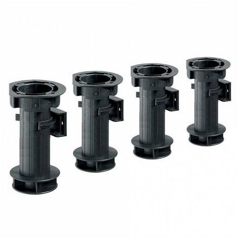 Lot de 4 Pieds de caisson réglables - noir - H150mm