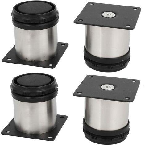 Lot de 4 pieds de meubles de cuisine en acier inoxydable - Réglables - Ronds - 50 x 50 mm