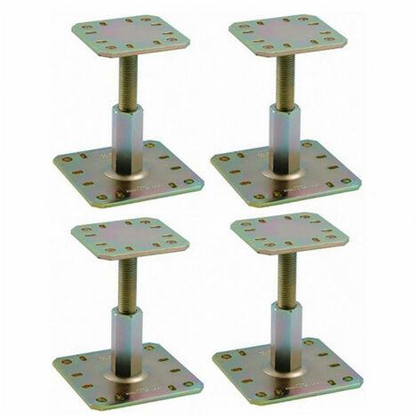 Lot de 4 Pieds de poteau réglable PPRC hauteur 100 à 150 mm SIMPSON