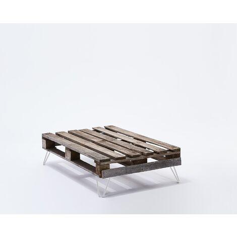 Lot de 4 pieds de table double filaire / Hauteur 16cm / blanc mat / modèle incliné