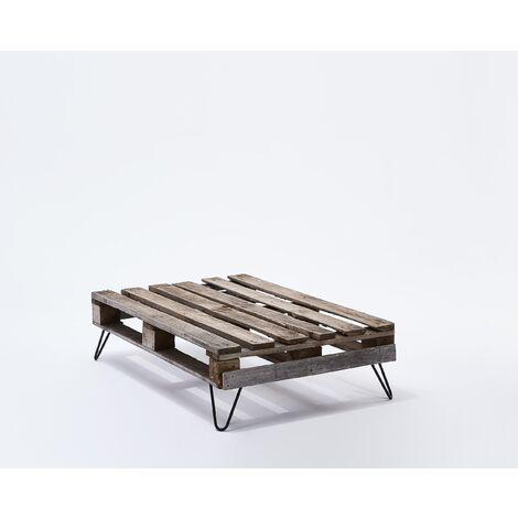 Lot de 4 pieds de table double filaire / Hauteur 16cm / noir mat / modèle incliné