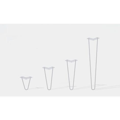 Lot de 4 pieds de table double filaire / Hauteur 30cm / blanc mat / modèle incliné