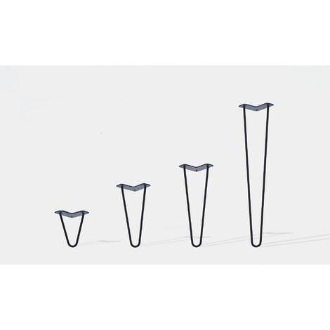 Lot de 4 pieds de table double filaire / Hauteur 30cm / noir mat / modèle incliné