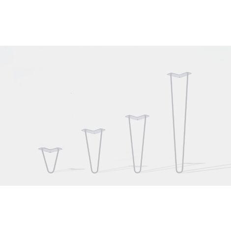 Lot de 4 pieds de table double filaire / Hauteur 50cm / blanc mat / modèle incliné