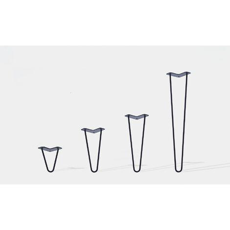 Lot de 4 pieds de table double filaire / Hauteur 50cm / noir mat / modèle incliné