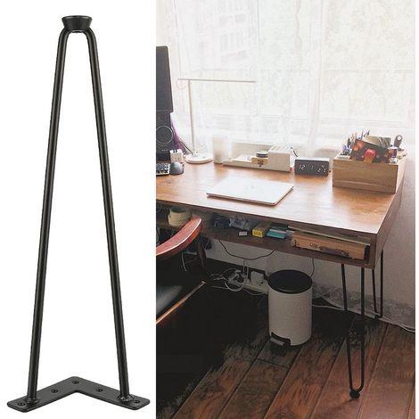 Lot de 4 pieds épingle 41 cm pour table design industriel