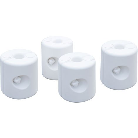 Lot de 4 poids de lestage cylindrique pour tonnelle barnum tente dim. Ø 22 / Ø 24 x 25H cm polyéthylène blanc