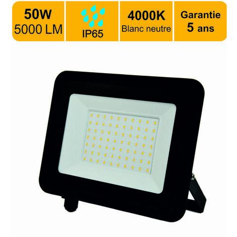 LOT DE 4 PROJECTEURS LED 50W (EQUIV. 400W) 4000 LM BLANC NEUTRE (4000K) IP65 CONNEXION EN DIRECT