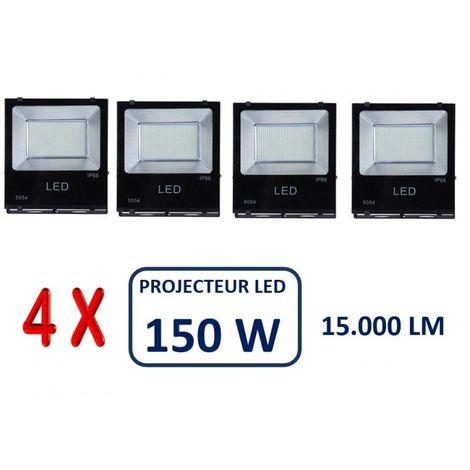 LOT DE 4 PROJECTEURS LED PROFESSIONNEL SMD 150W EXTÉRIEUR IP65
