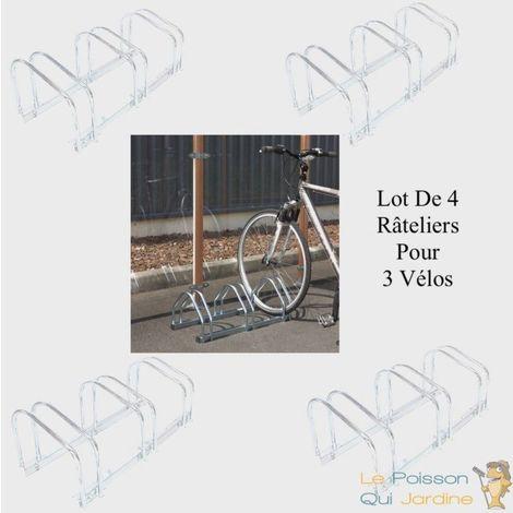 Lot De 4 Ràteliers, 3 Vélos, Fixation Au Sol, Longueur 71 cm,1 Niveau