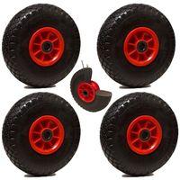 LOT de 4 roues diables increvables 260 x 85 alésage 25 mm (3.00-4) à rouleaux CH225Kg